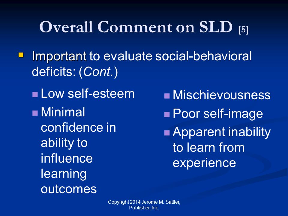 Overall Comment on SLD [5]